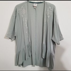 Knox Rose Light Green Open Front Cardigan Small
